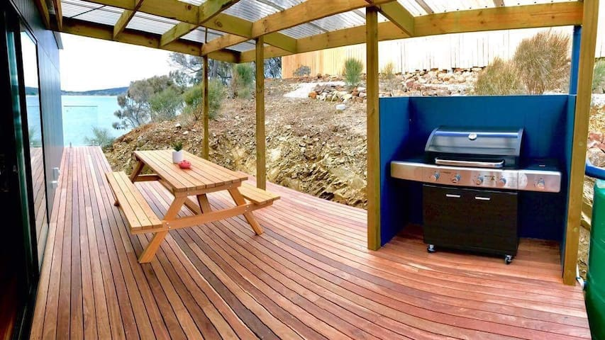 Rear covered deck, with BBQ