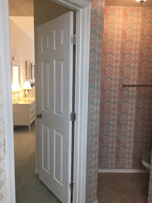 Bathroom access to guest room