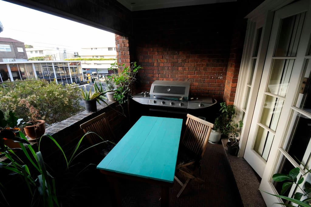Spacious balcony with a large BBQ