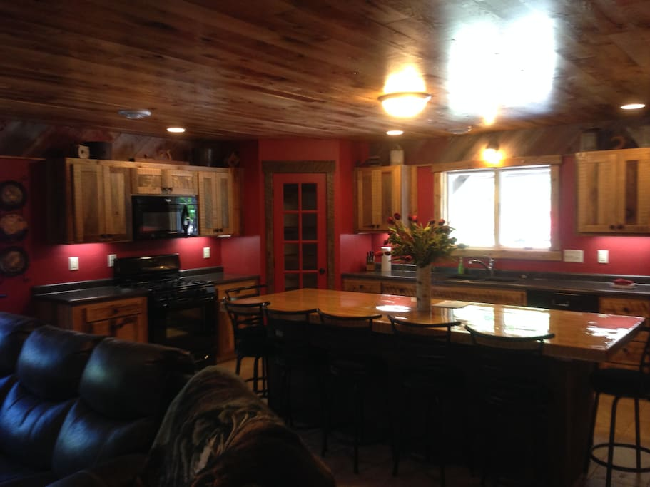 Large well supplied kitchen with big Island for family groups