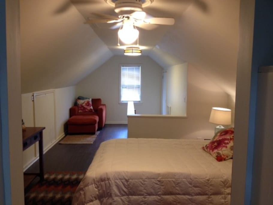 Newly remodeled upstairs bedroom and reading area