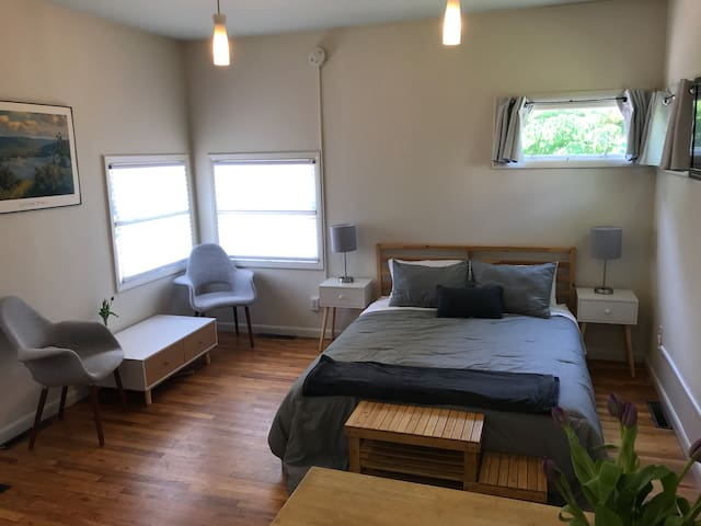 Bright, cozy studio with great downtown location