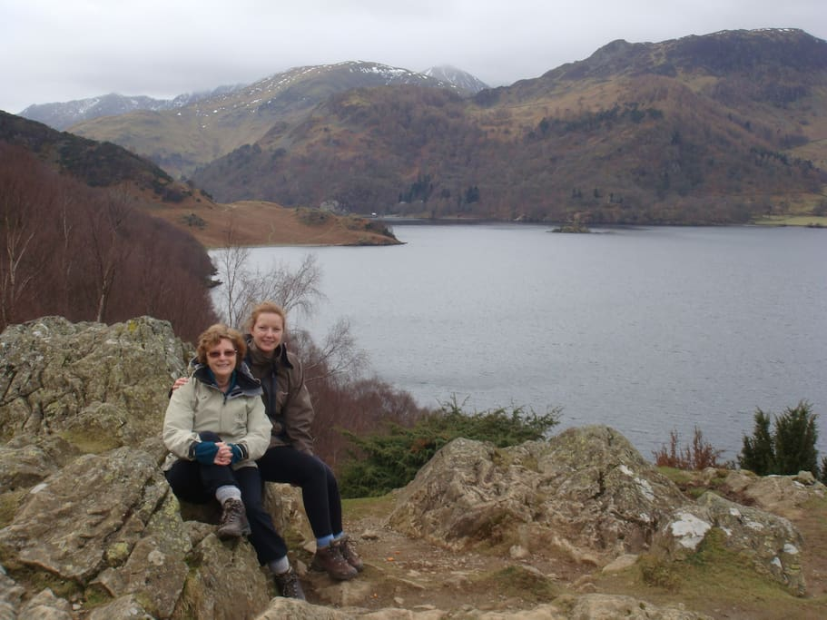 This is me with daughter at Ullswater, 10 minutes from my home. It is beautiful even in mid winter.