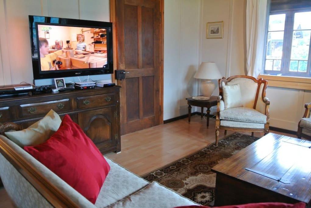 Le salon Louis XVI permet d'apprécier le paysage, mais aussi de jouer et de regarder la télévision