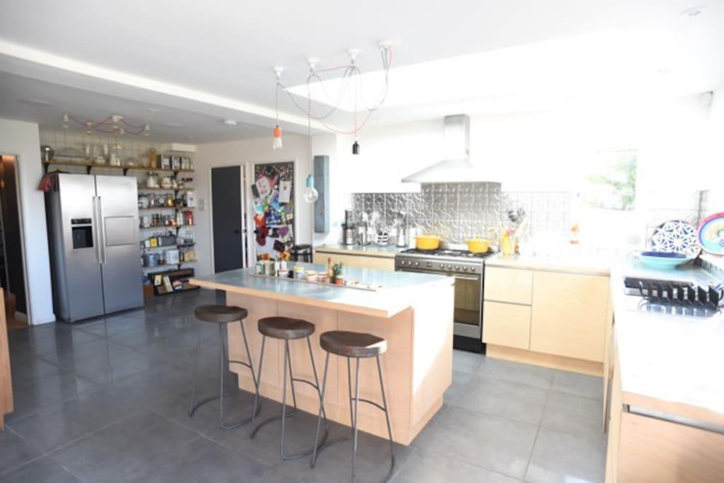 Smeg appliances, zinc topped kitchen