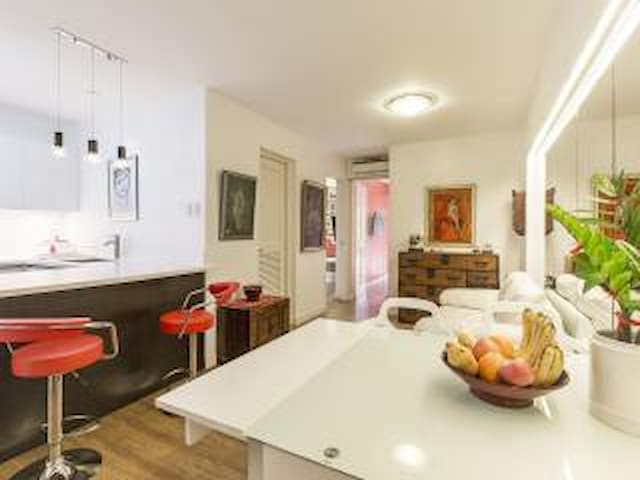 Artsy Living / Dining / Breakfast Counter, 2 bedrooms in background...