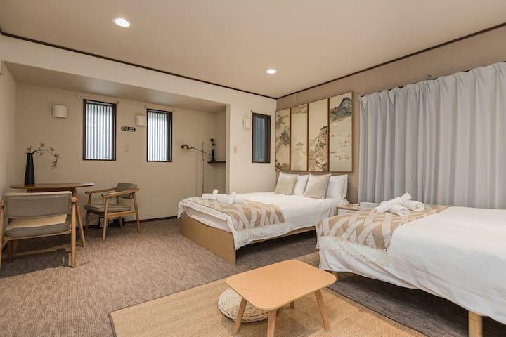 高级家庭公寓,6分钟五条站14分钟京都站,「本愿寺、三十三间堂、清水寺」触手可及!