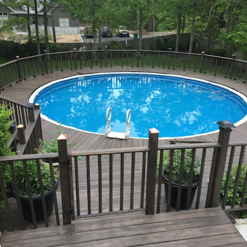 Large overground pool, accessible from  deck.