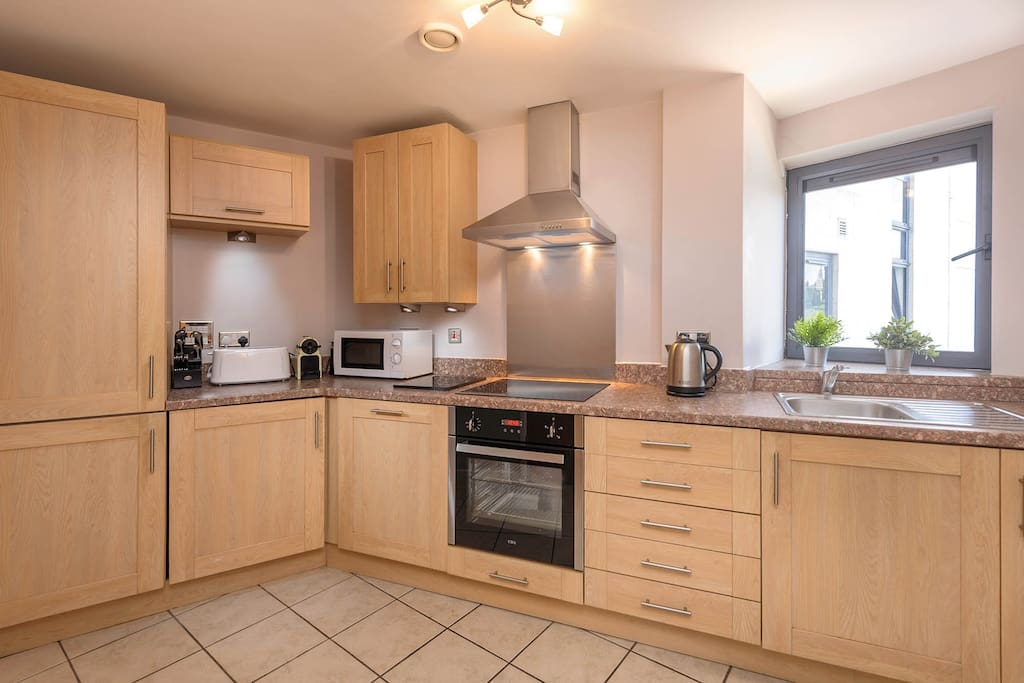 Kitchen fitted with all essentials including Nesspresso Machine & washing machine