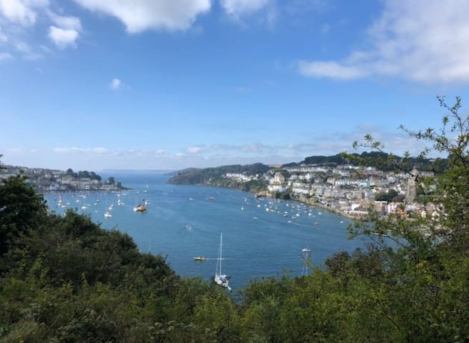 View from the Hall Walk back across the river towards Fowey and out to sea. This circular walk starts from outside the apartment.