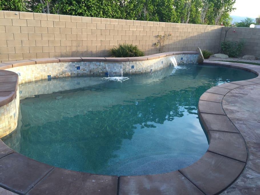 Beautiful salt water pebble tech pool & spa