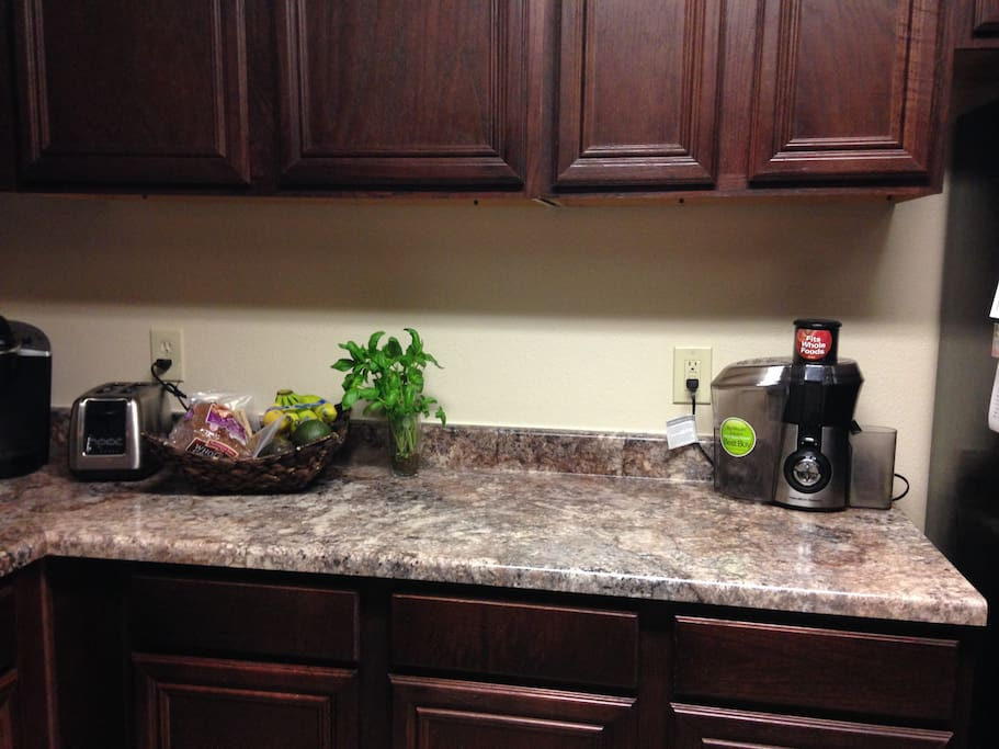 Full kitchen access with Keurig coffee maker, juice maker, and toaster, etc.