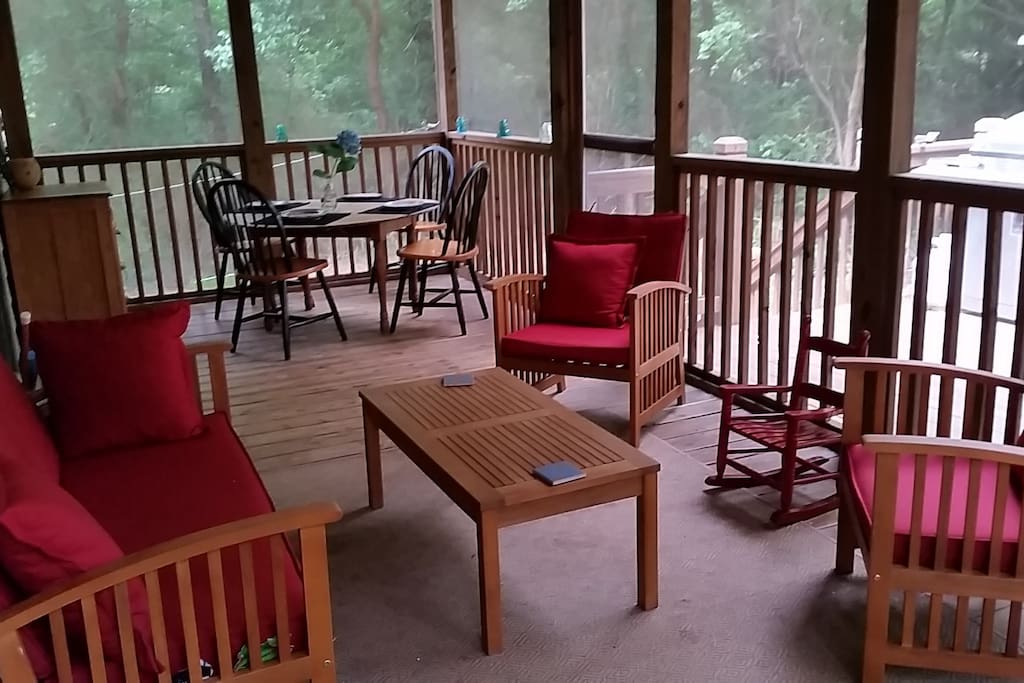 Our back porch is also good for happy hour or dinner al fresco!