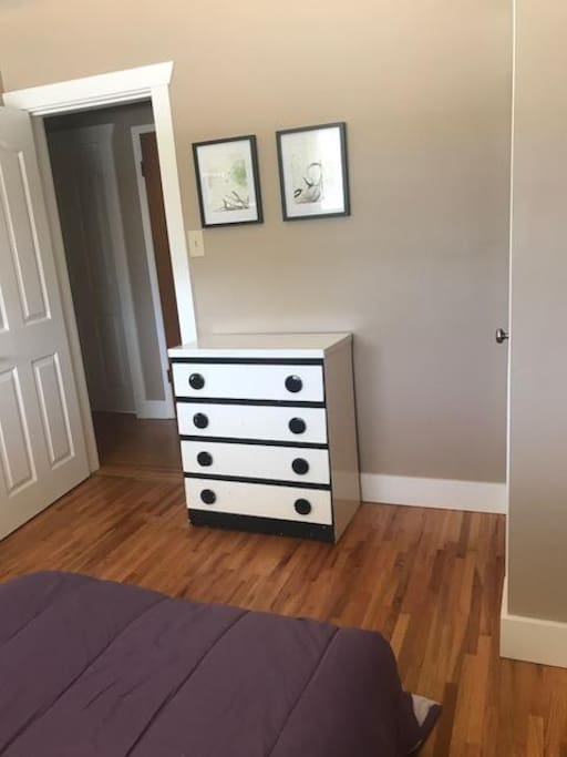 Dresser in your room with small closet to the right with shelves and hangers.