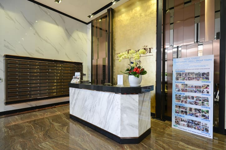 Front desk at AP2 lobby