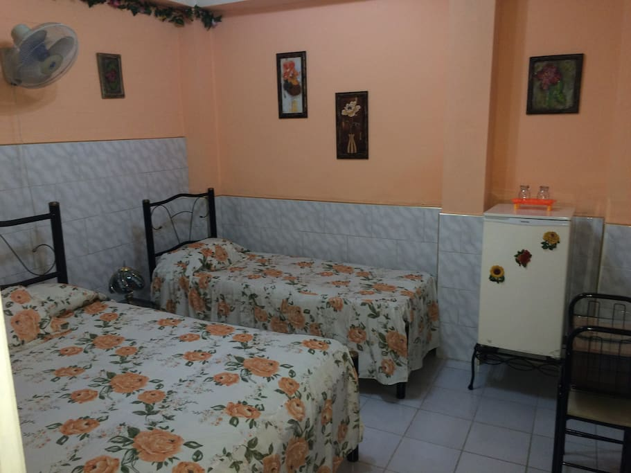 Dormitorio con aire acondicionado y ventilador