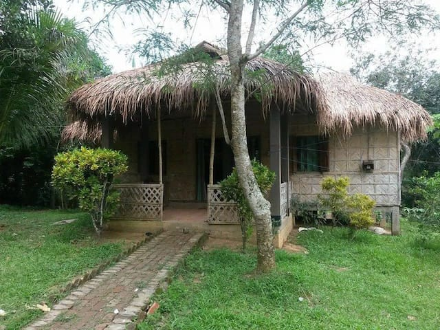 Stay in cottage of bamboo and straws, mud house.