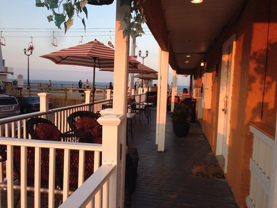 Ocean front deck  out side of your apt enjoy sun rise and sun set