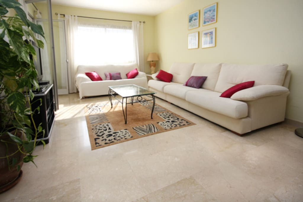 Two sofas with large flatscreen Sky TV in lounge