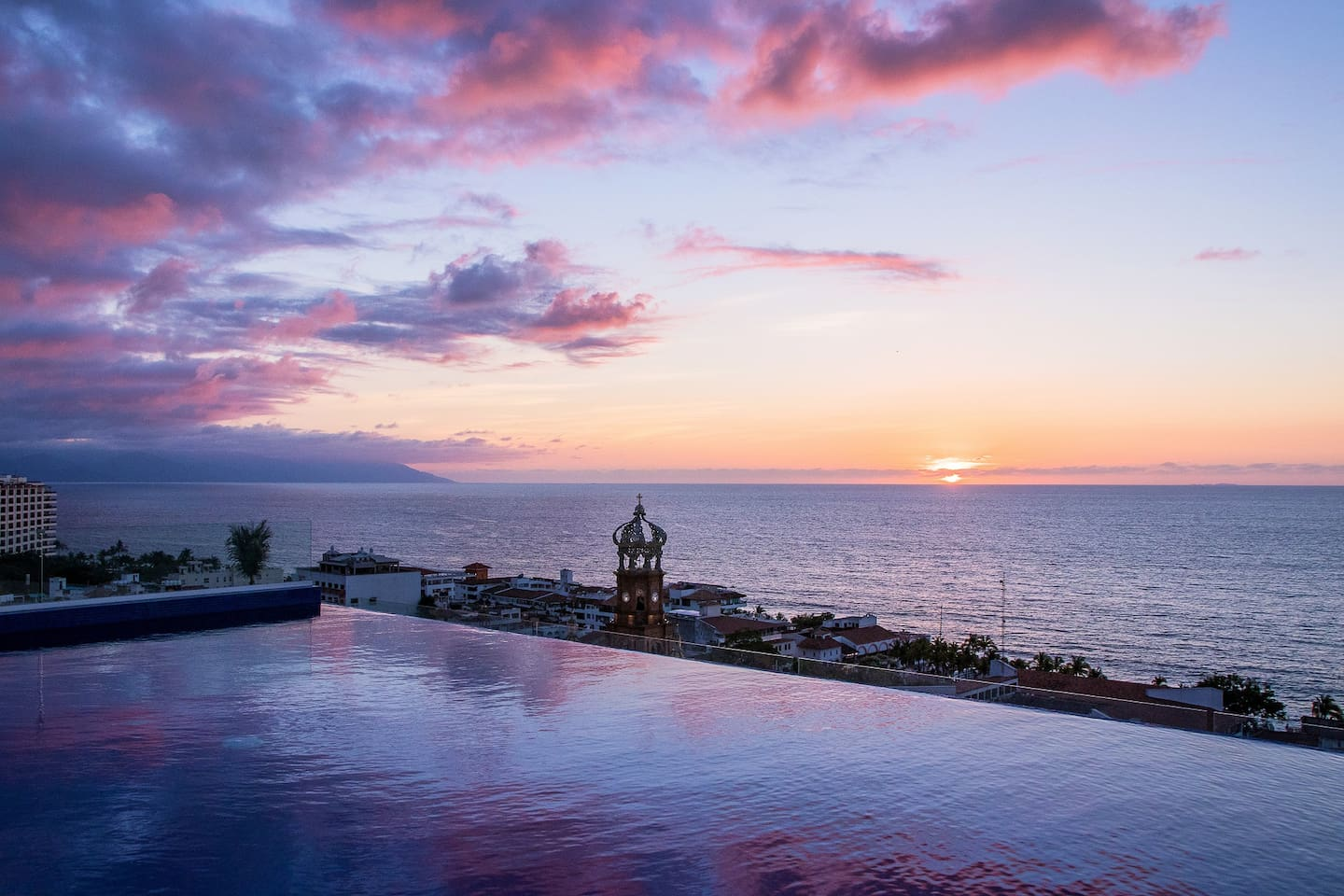 Rooftop pool with amazing sunset views