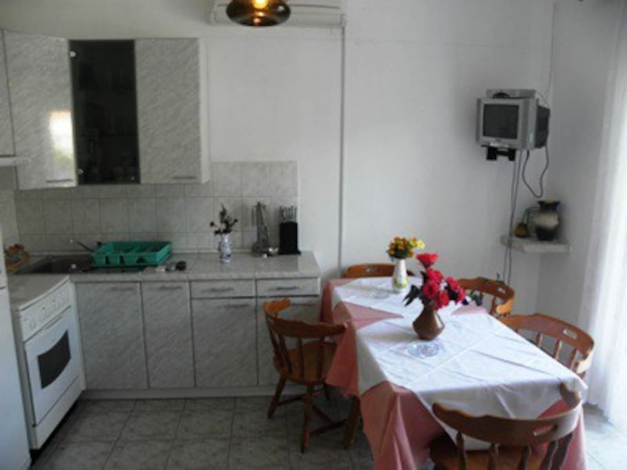 Kitchen with all equipment you need for cooking. Microwave, toaster , water boiler and lots of other stuff are included!