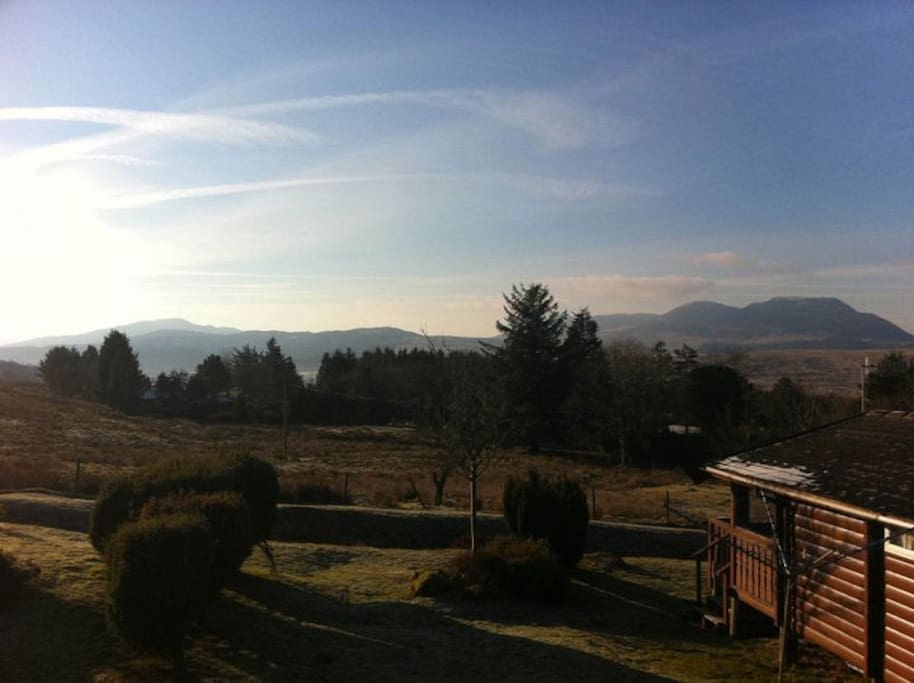 View of Cadair Idris, Diffwys and Rhinogydd mountains from veranda and deck.