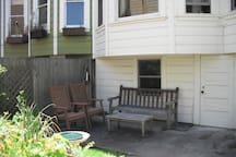 Sitting area at edge of garden