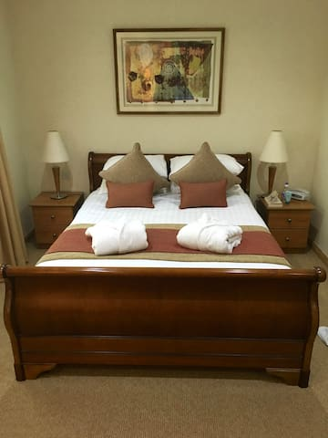 The master bedroom with five foot wide double bed