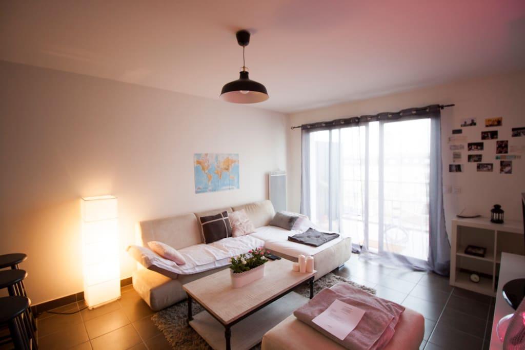 Salon avec magnifique canapé en daim, table basse et TV. Espace cocooning.