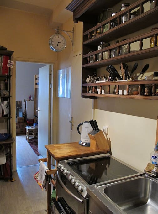 Fully equipped kitchen - microwave, oven, dishwasher, washing machine, kettle boiler, stove