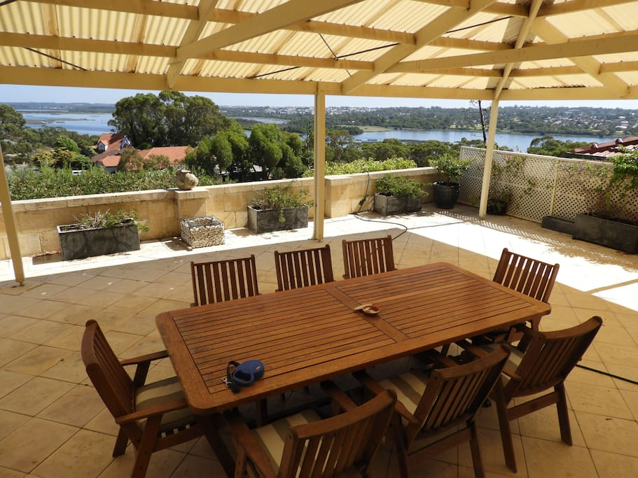 private entertaining /bbq area with fantastic views .