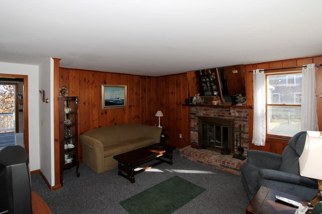 Cozy stone fireplace (non-functional) in the wood-paneled living area.