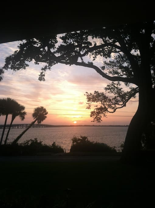 Sunrise over the Indian River can be seen from most any rooms of the home.