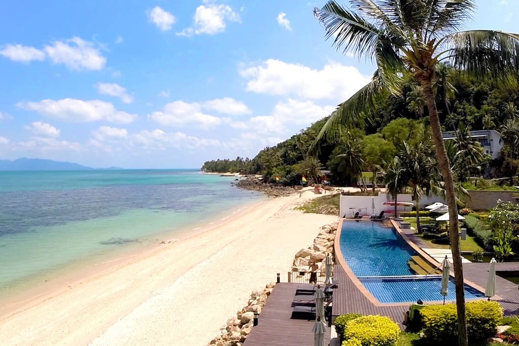 Secluded beach and resort pool are a minute's walk away