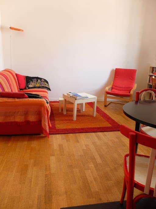 Salotto spazioso, con ampio divano e morbido tappeto. Tutto la pavimentazione dell'appartamento è in parquet. Comodissima poltrona per rilassarsi con un buon libro.