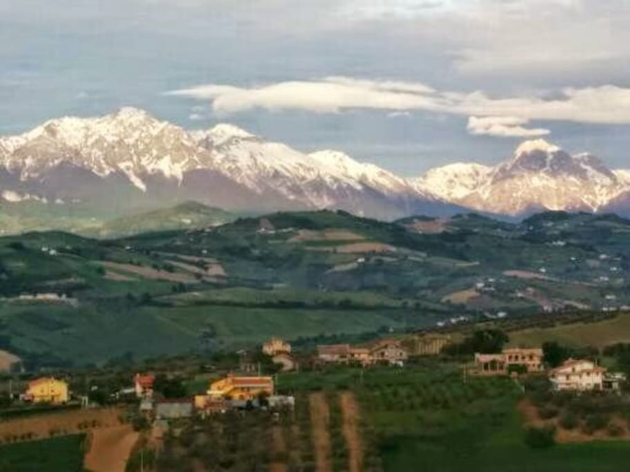 Sunrise view of Gran Sasso from Bedroom