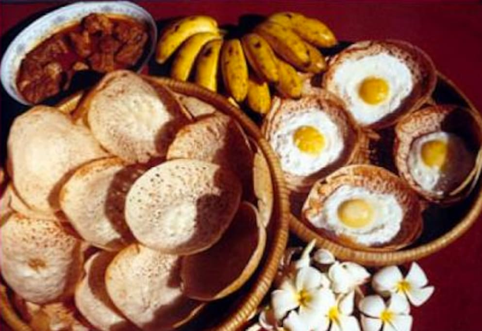 Local cuisine, egg hoppers, and honey, fresh fruit, etc. Kandy and Colombo.