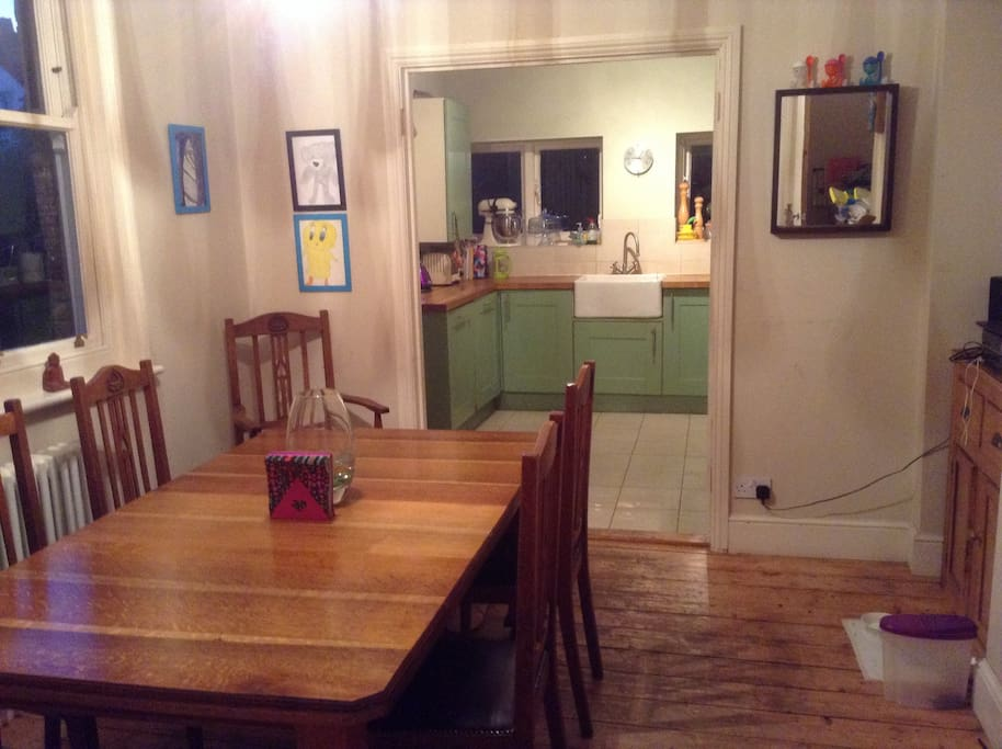 The large dining table will comfortably seat six, next to the well equipped and easy to maintain kitchen. The breakfast room has the original fitted cupboards and stripped floorboards.