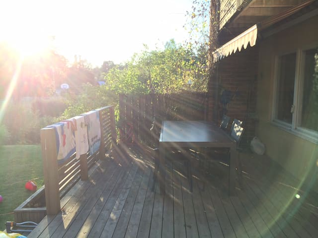 Patio terrace table for 10 people and sundeck.