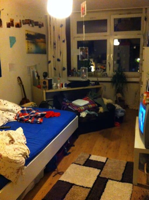 großes Bett und Schreibtisch, natürlich Picobello bei Besuch!
