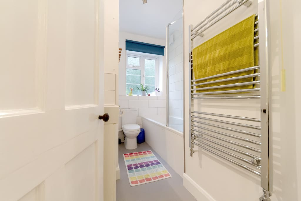 Bathroom with heated towel rail and a great shower