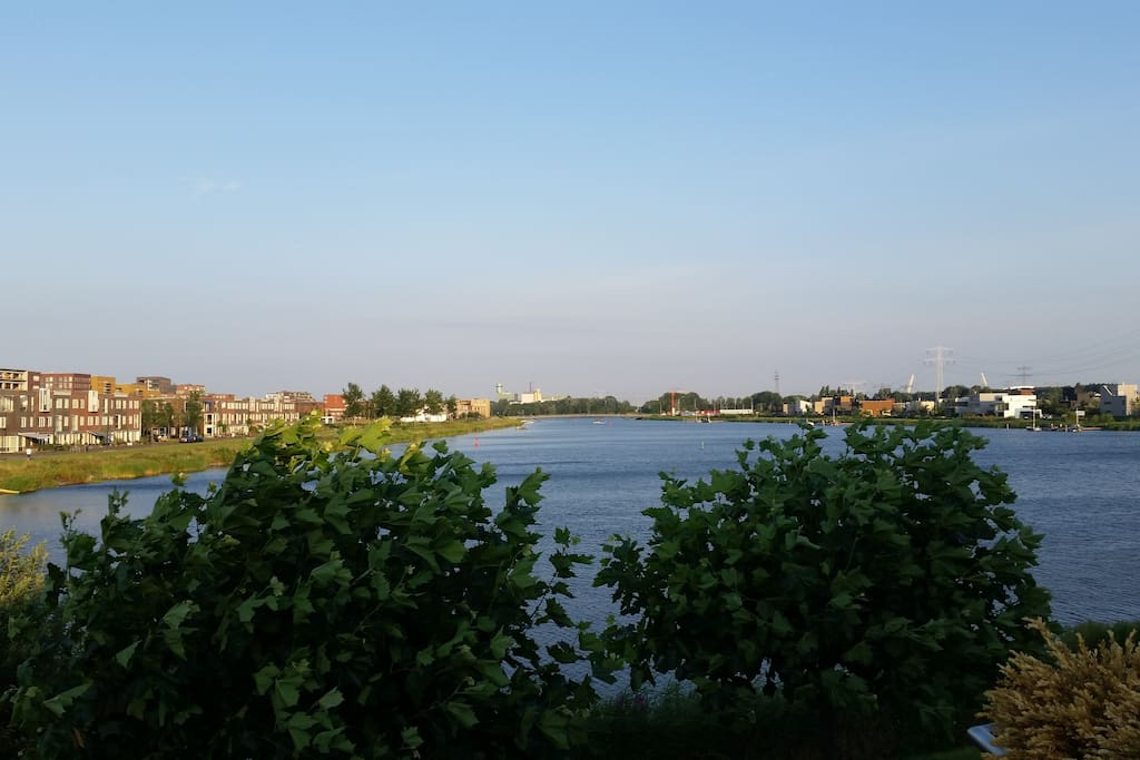 View of lake next to house.