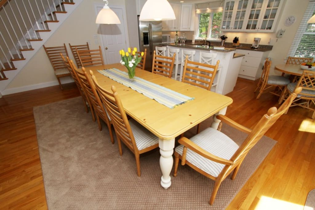 Dining for up to 10, plus kitchen table which seats 4.  High-chair provided.