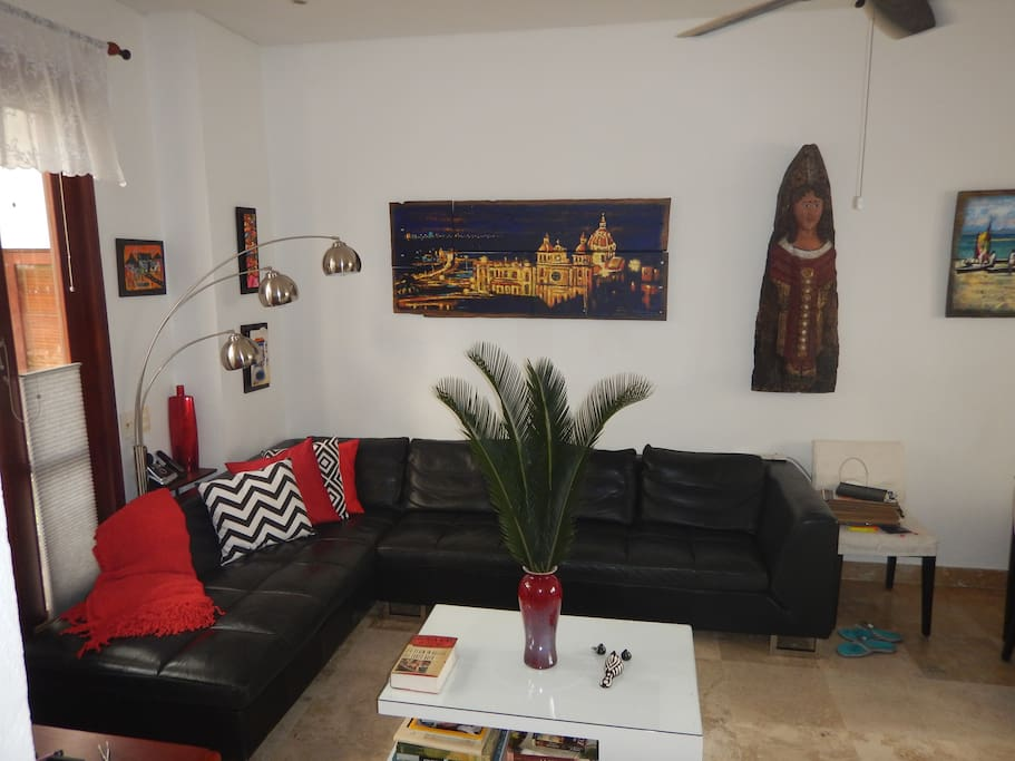 Our living area is decorated with local art work.