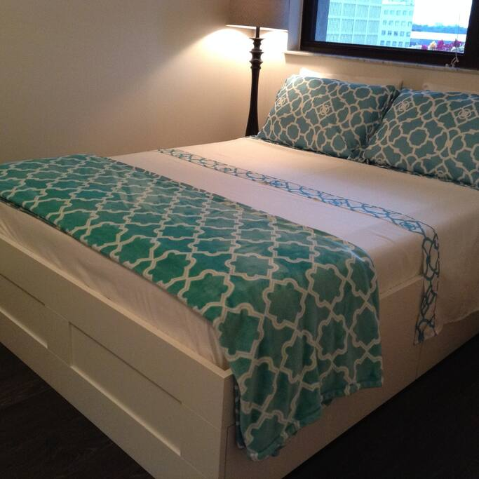 One bedroom condo: the bedroom features a super comfy, foam queen-size mattress that sleeps two, and has plenty of storage space