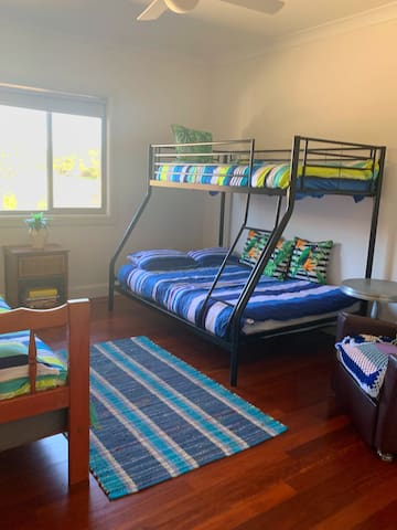Bedroom 4 with Double  and 2 single beds