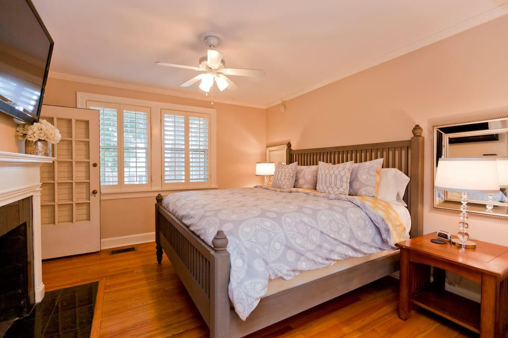 Master bedroom boasts a 52 inch smart HDTV with access to Netflix and giant California closet