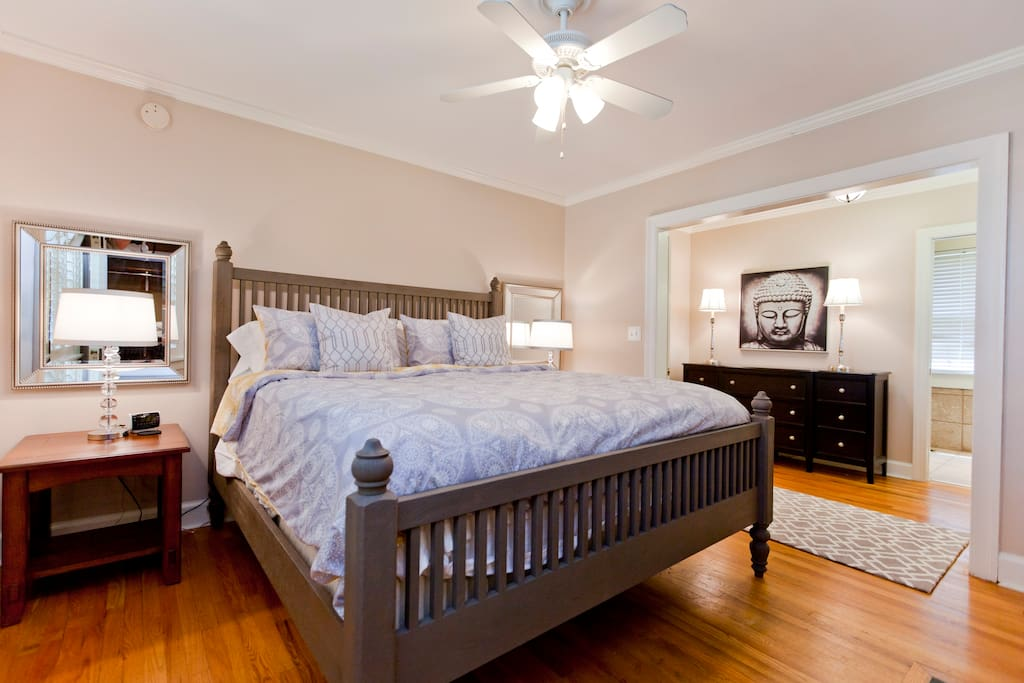 Master bedroom with king size Sterns & Foster bed