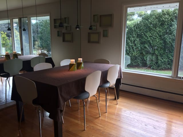 Large table, sits 8 with a couple extra chairs to everyone can eat together!