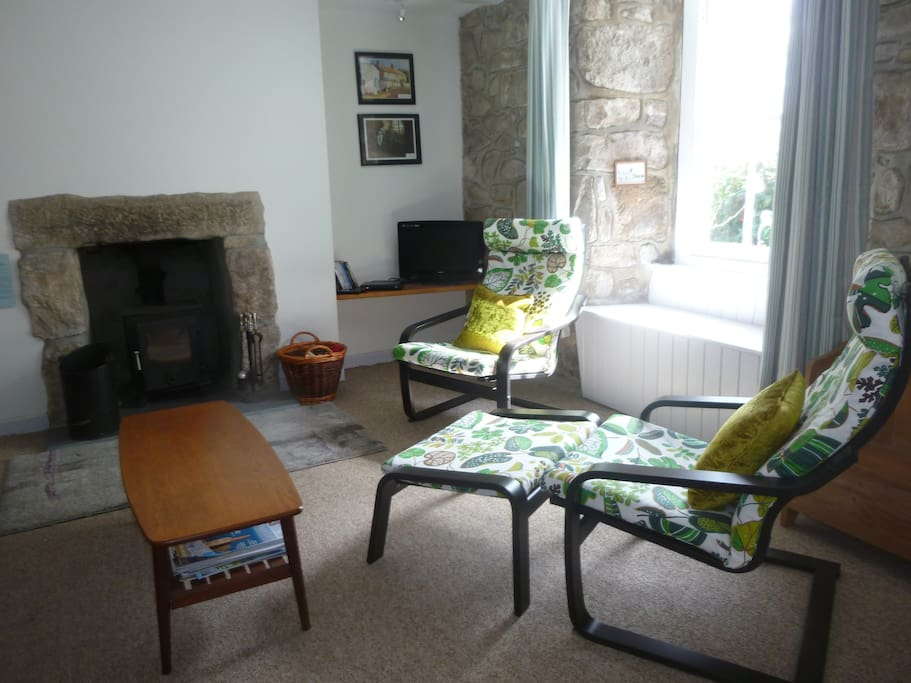 The lounge with woodburner